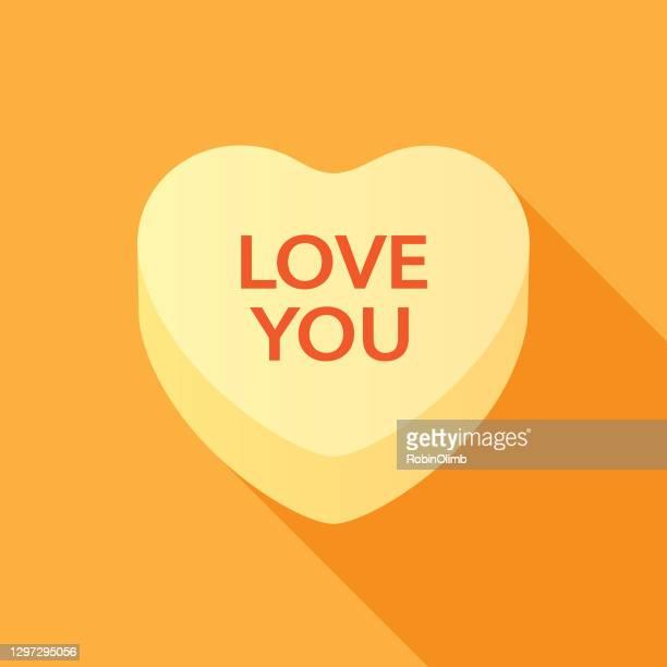 ラブ・ユー・バレンタイン・キャンディ・ハート - 結婚記念日のカード点のイラスト素材/クリップアート素材/マンガ素材/アイコン素材