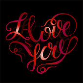 I love you. Valentine. Red lettering in the shape of a heart.Holiday card. Lettering. Vector.
