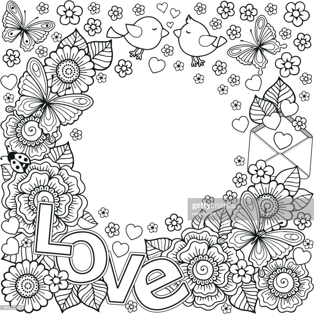 I Love You Vector Abstract Coloring Book For Adult Design For ...