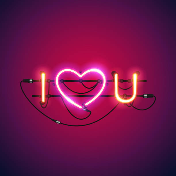 I Love You With Pink Heart Neon Sign Wall Art