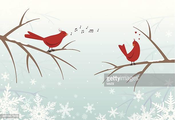 ilustrações de stock, clip art, desenhos animados e ícones de lovebirds em ramos no inverno nevadascomment - canto de passarinho