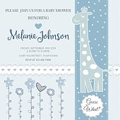 Lovely baby shower card template with silver glittering details