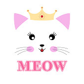 Lovely cartoon kitty princess isolated on a white background.