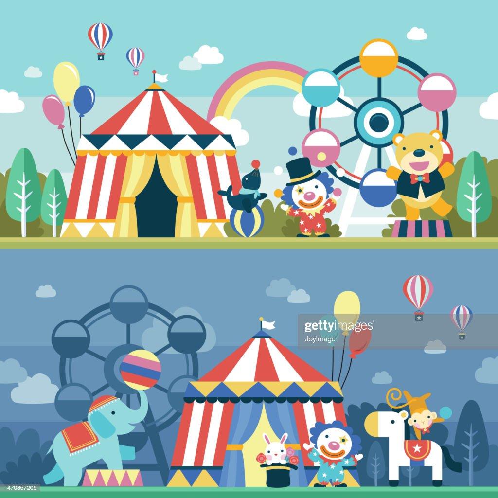lovely circus performance scene set