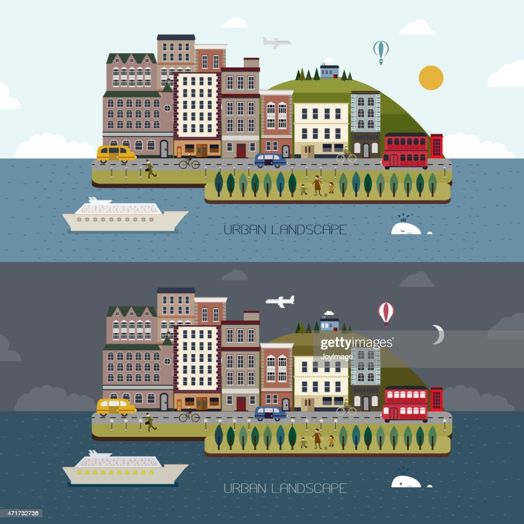 lovely city landscape day and night in flat design