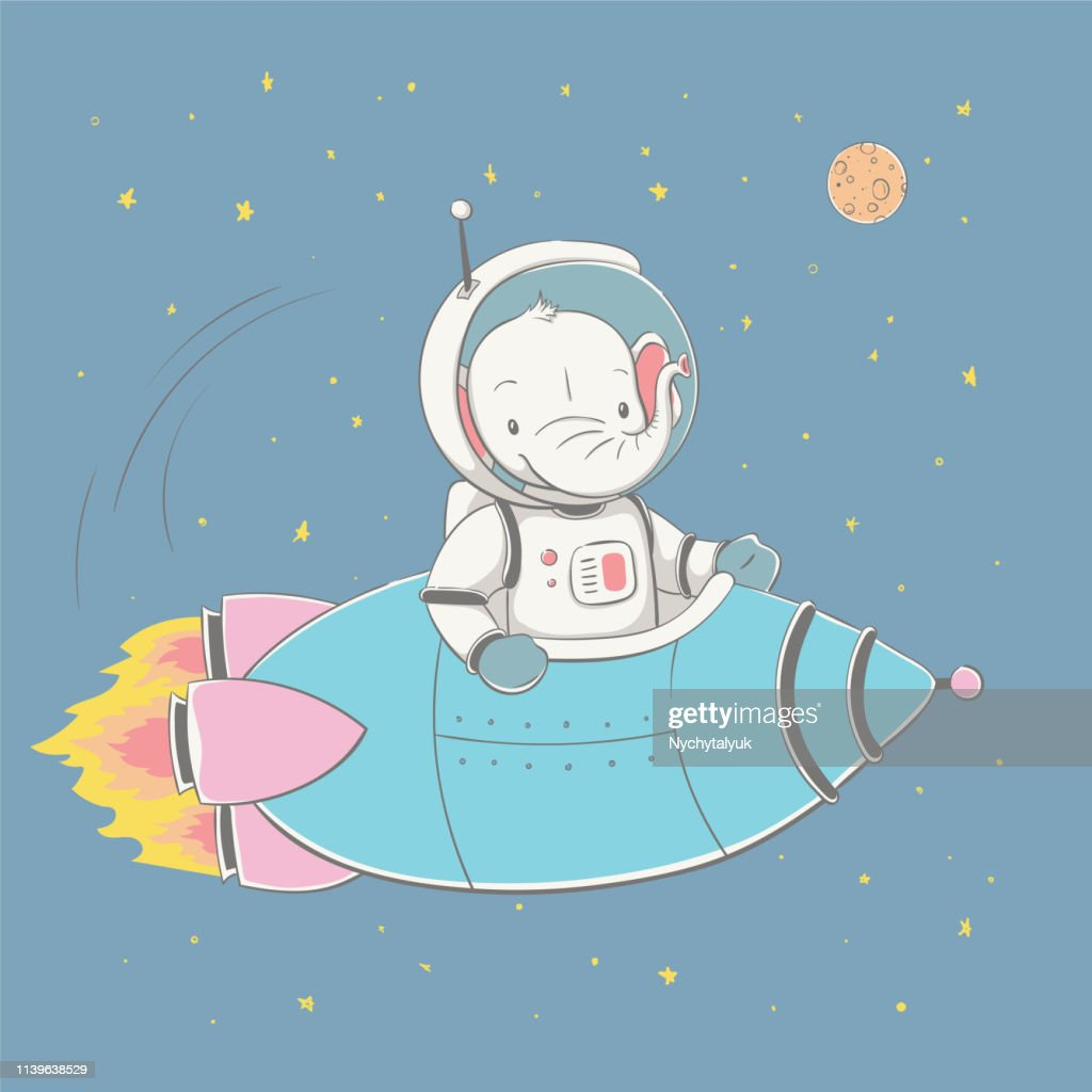 Lovely cute baby elephant flying in the rocket in the space. Space series of children's card