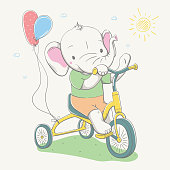 Lovely cute baby elephant in T-shirt and shorts by small bike with color balloons. Summer series of children's card
