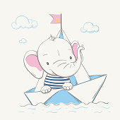 Lovely cute baby elephant swims in the paper boat. Summer series of children's card