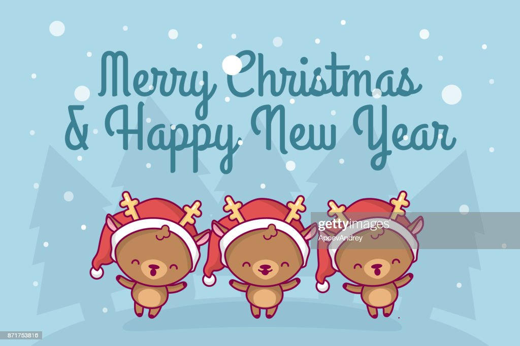 Lovely cute kawaii chibi. a group of deer sing a song under a snowfall. Merry christmas and a happy new year. greeting card