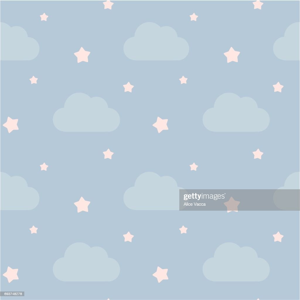 lovely cute sky with clouds and pink little stars seamless vector pattern background illustration