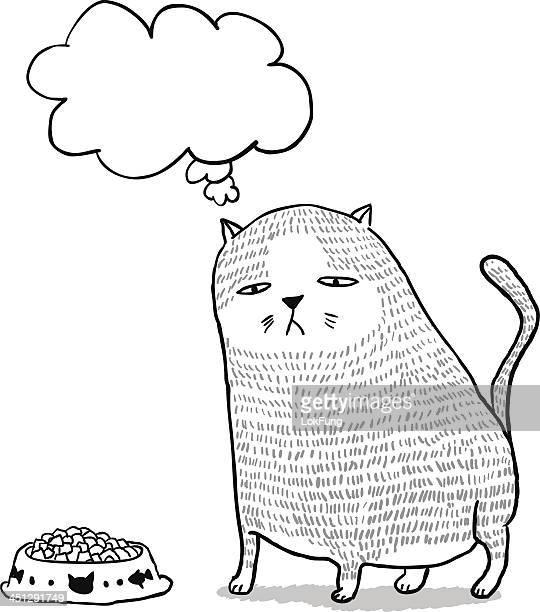 Lovely fat cat in cartoon style
