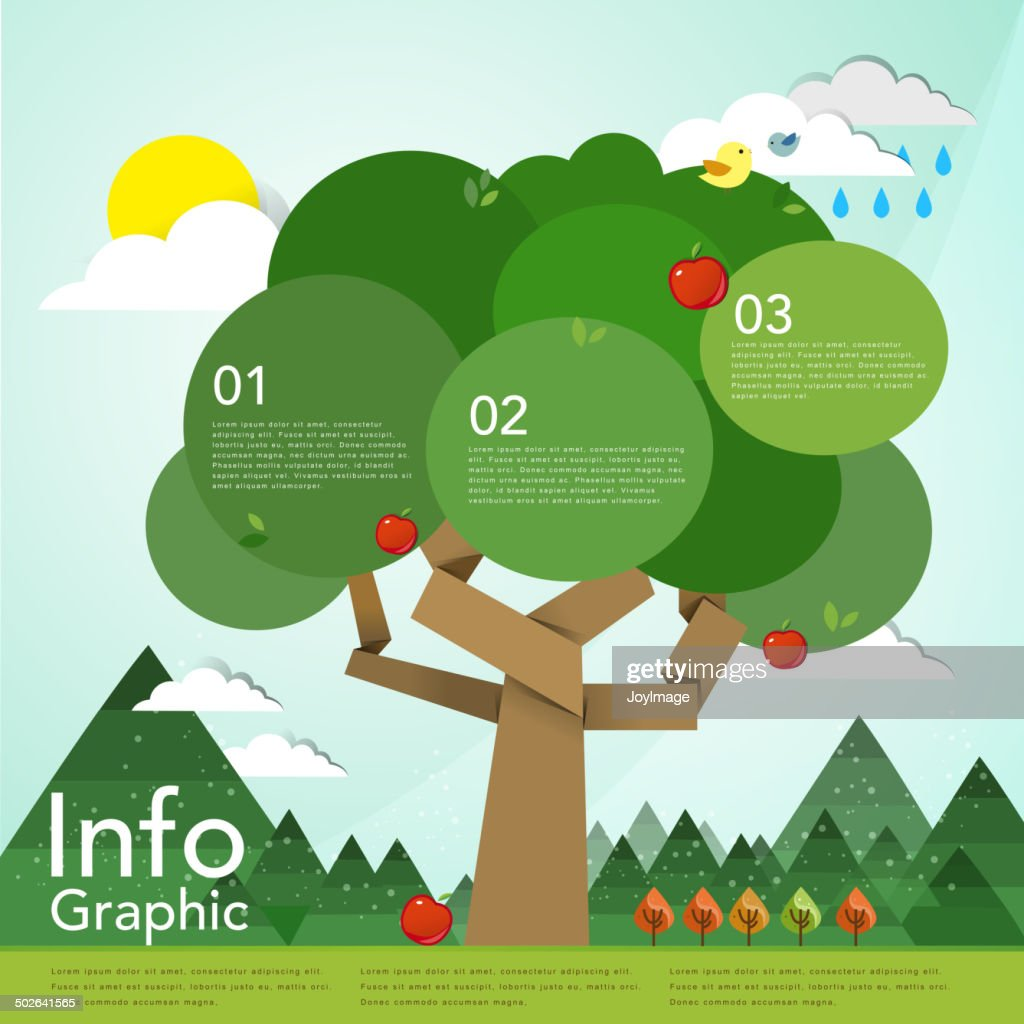lovely flat design infographic with tree element