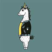 Lovely hand-drawn unicorn-rocker with a leather jacket and with a mohawk.