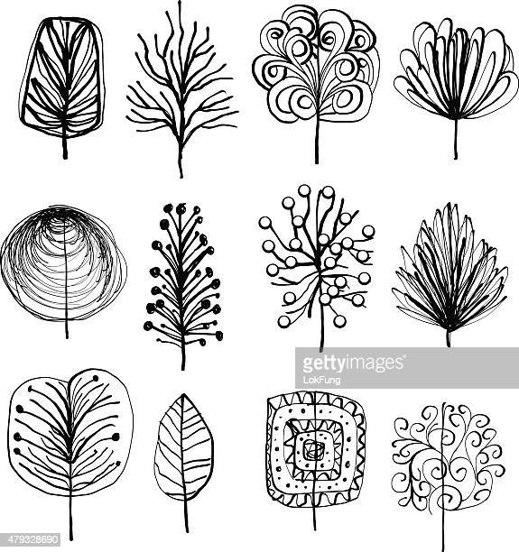 lovely leafs in cartoon style - pencil drawing stock illustrations