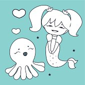 Lovely Mermaid and Octopus  Coloring book