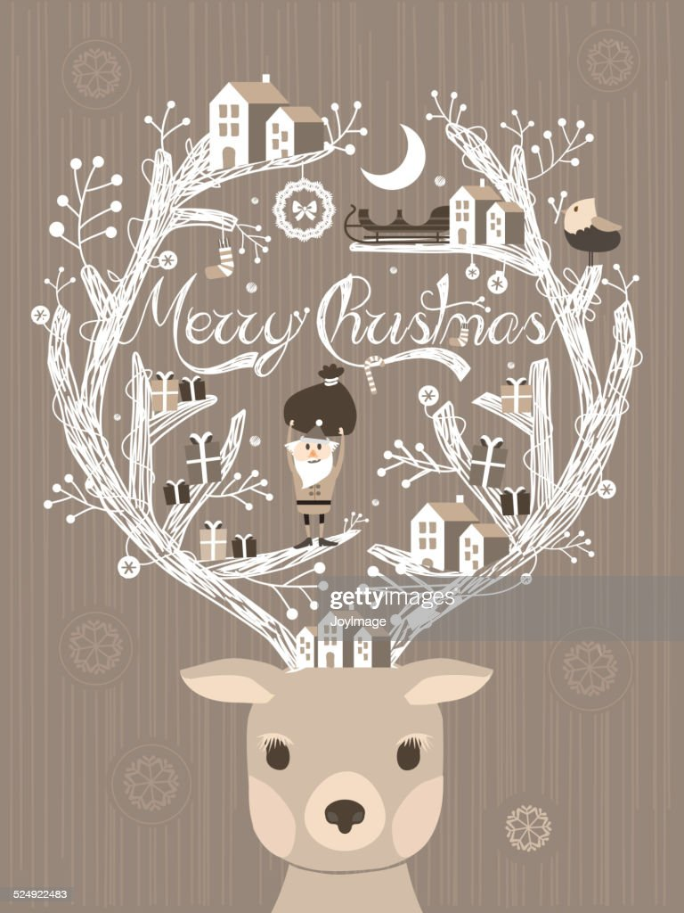 lovely moose design Christmas card or poster