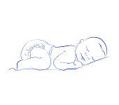 Lovely Newborn Sleeping Vector. Cute Little Sleeping Child. Contour Sketch, Hand Drawn.
