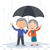 Lovely old couple under umbrella in the rain
