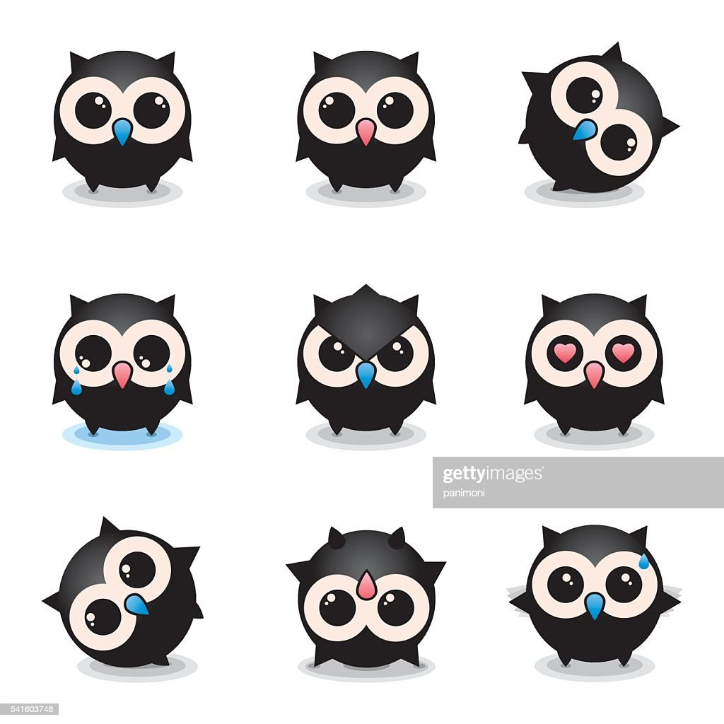Lovely owls, owls set of round, smiley, cheerful icons