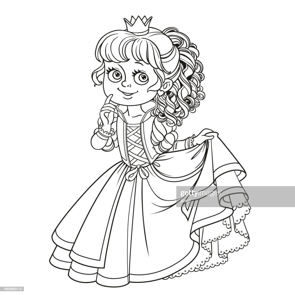 Lovely princess outlined picture for coloring book on white back
