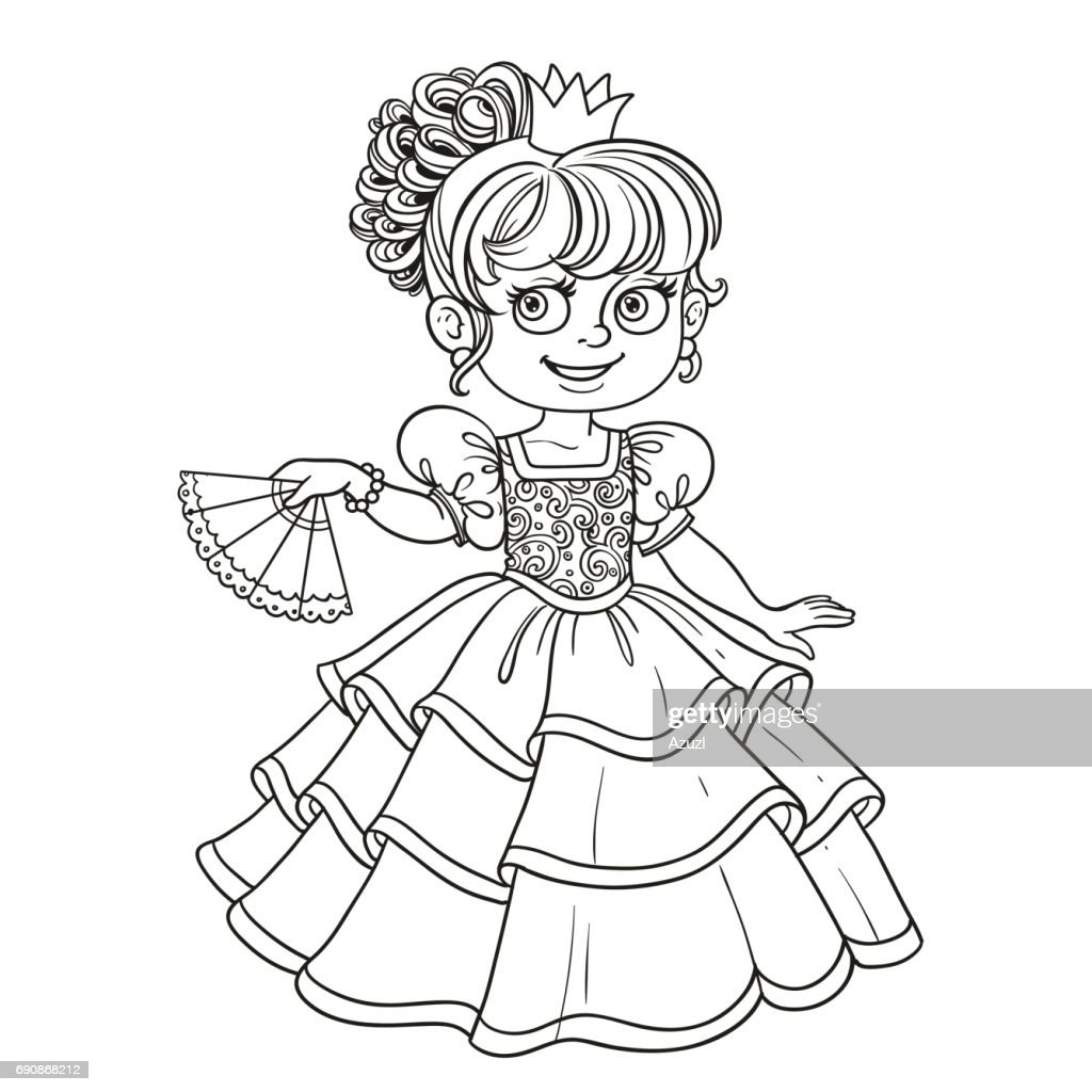 Lovely princess with fan in hand outlined picture for coloring b