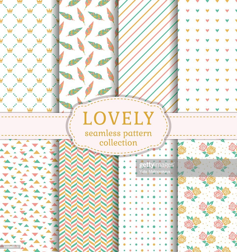 Lovely seamless patterns. Vector set.