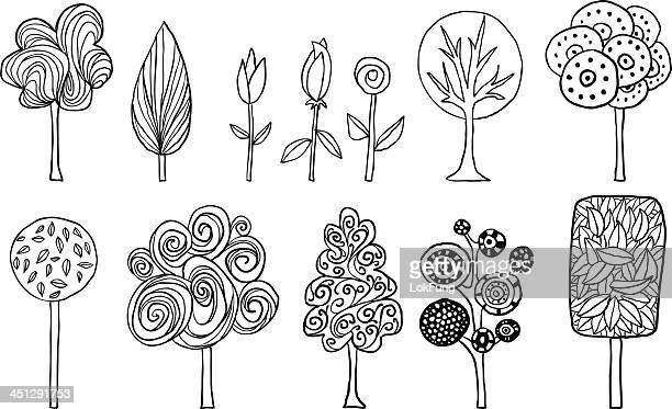 lovely trees in cartoon style - black and white nature stock illustrations