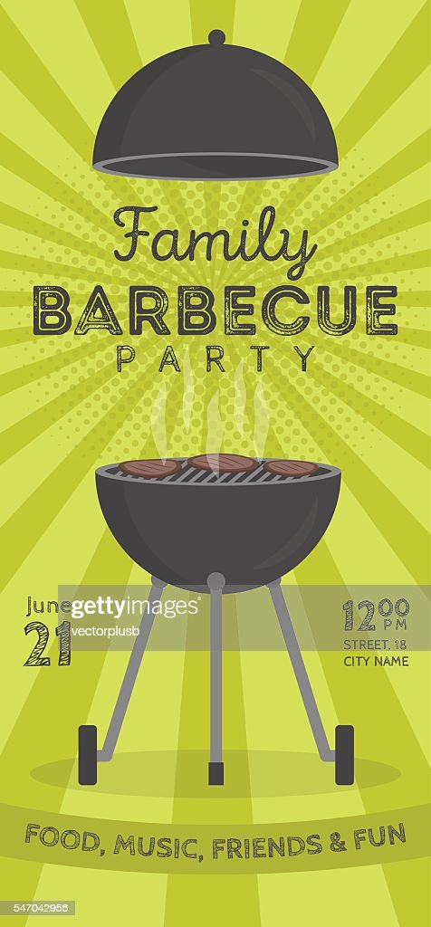 Lovely vector barbecue party invitation design template.