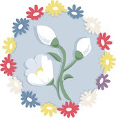Lovely white flower snowdrop on white, nice spring blossom country icon