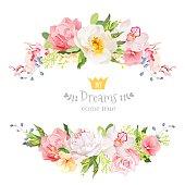 Lovely wishes floral vector design frame. Floral banner stripe elements.