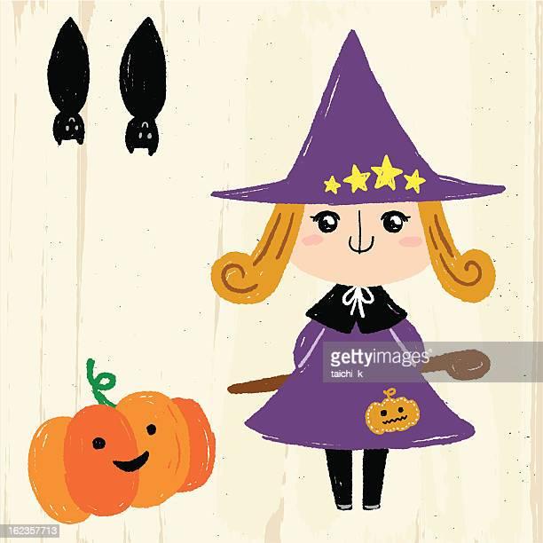 ilustrações, clipart, desenhos animados e ícones de adorável bruxa - cartoon characters with curly hair