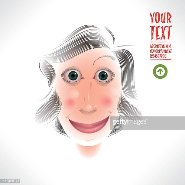 ilustraciones, imágenes clip art, dibujos animados e iconos de stock de encantadora mujer caricatura - mujeres de mediana edad