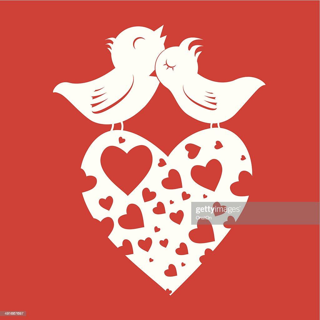 Lover Birds On Heart