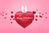 Lover couple holding hand standing on red heart with flying paper heart background.