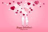 Lover couple holding hand with flying paper heart background.