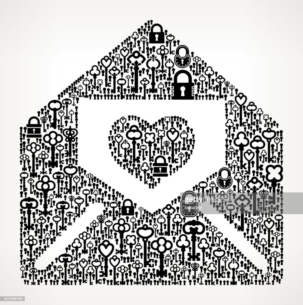 Lover Letter in Envelope Antique Keys Black and White Vector Pattern : stock illustration