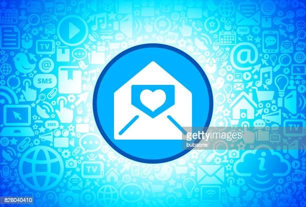lover letter in envelope icon on internet technology background - love letter stock illustrations, clip art, cartoons, & icons