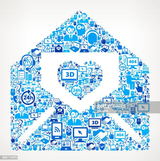 lover letter in envelope tech support vector icon pattern - love letter stock illustrations, clip art, cartoons, & icons