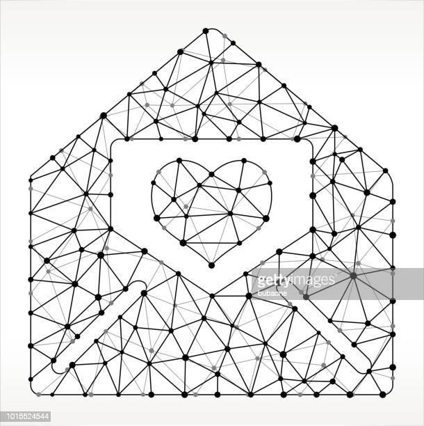 ilustraciones, imágenes clip art, dibujos animados e iconos de stock de letra de amante en sobres triángulo nodo negro y blanco patrón - carta de amor