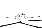 Lover making clasping hands