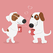 Lovers dogs drink hot coffee.