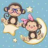 Lovers Monkeys on a moon and star