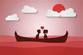 Lovers sit on a boat in the middle of the sea and have a sunset , paper art couple honeymoon , valentine day date , vector illustration