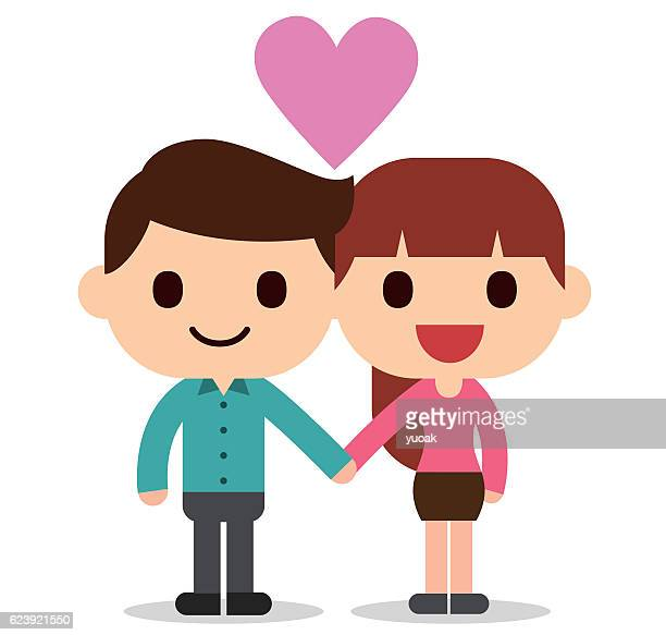 lovers - flirting stock illustrations, clip art, cartoons, & icons