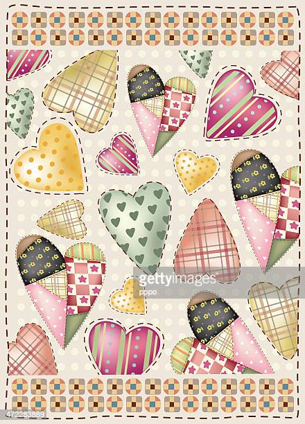 loves in fabric patchwork - quilt stock illustrations, clip art, cartoons, & icons