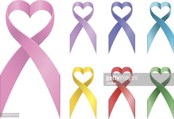 loving awareness ribbons - aids awareness ribbon stock illustrations