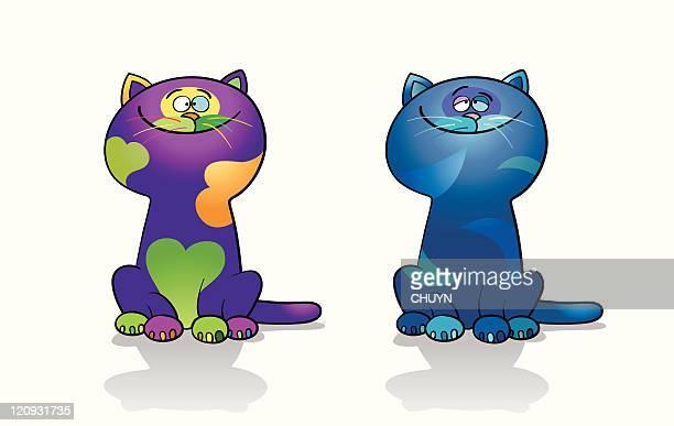 illustrations, cliparts, dessins animés et icônes de amoureux les chats - chat humour