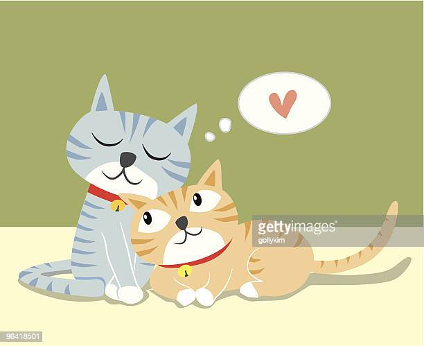 loving cats - two animals stock illustrations