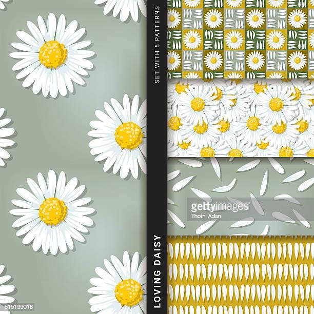 Loving daisy (Set with 5 seamless patterns)