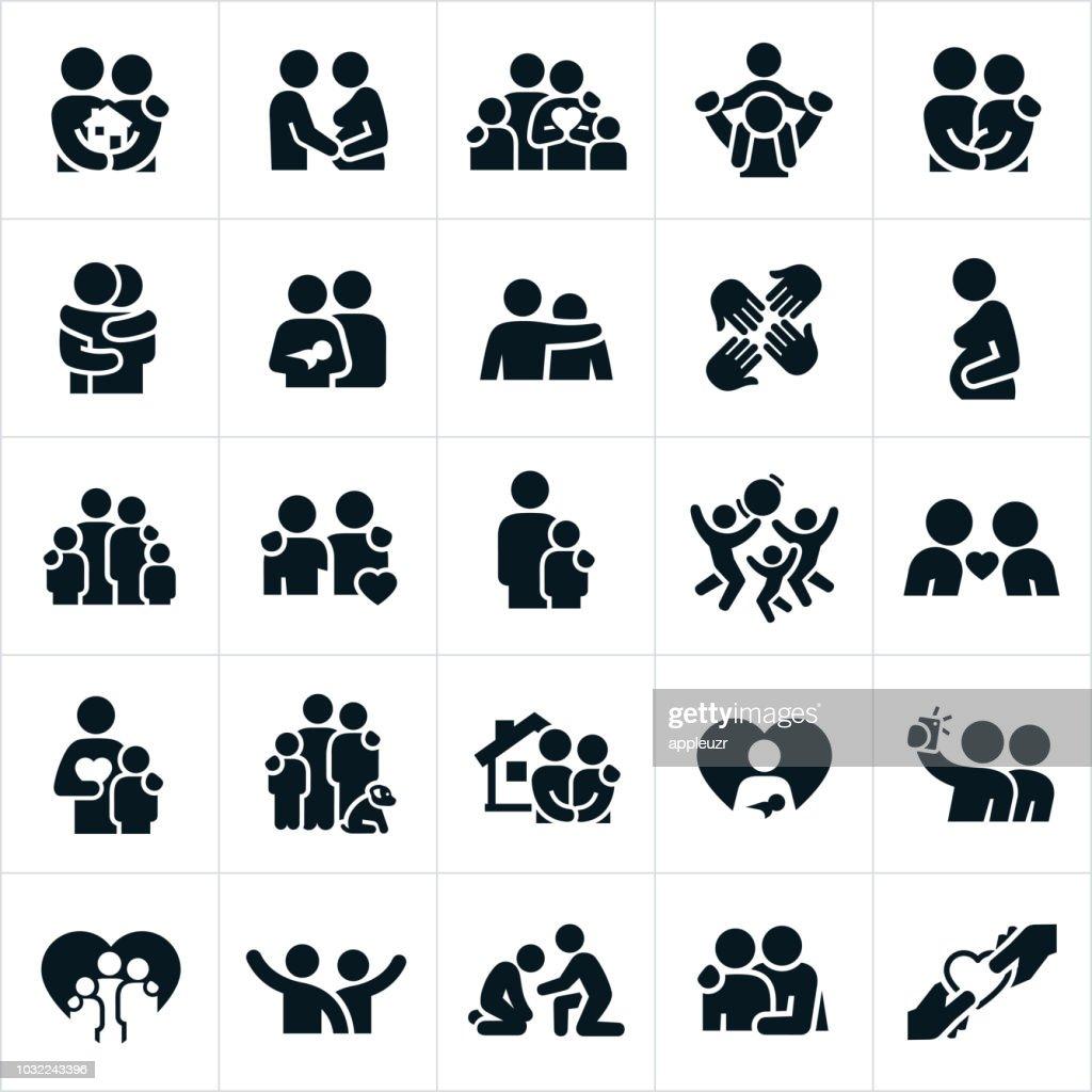 Loving Family Relationships Icons : stock illustration